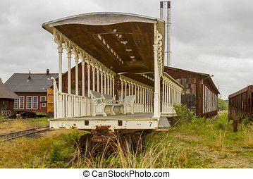 Old railcars in maintenance yard - Old railroad cars in...