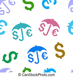 Financial Protection Flat Glyph Seamless Pattern