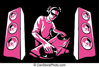 Silhouette of a DJ wearing headphones and scratching a record on the turntable. Vector illustration on black background