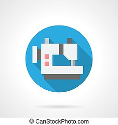 Sewing atelier round flat vector icon - Sewing machine...