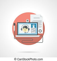 Web lessons detailed color vector icon - Laptop with smiling...