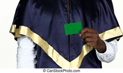 Graduate does not approve a green card. White. Close up -...