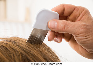 Person, Using, Lice, Comb, On, Patient's, Hair