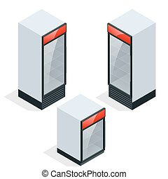 Commercial refrigerator to store drinks and perishables. Flat 3d vector isometric concept.