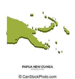 Isometric map of Papua New Guinea detailed vector...