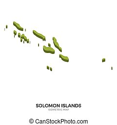 Isometric map of Solomon Islands detailed vector...