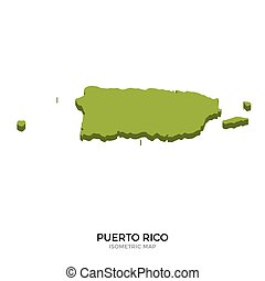 Isometric map of Puerto Rico detailed vector illustration....