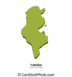 Isometric map of Tunisia detailed vector illustration....