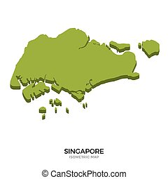 Isometric map of Singapore detailed vector illustration....