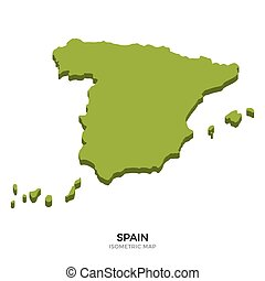 Isometric map of Spain detailed vector illustration....