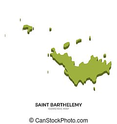Isometric map of Saint Barthelemy detailed vector...
