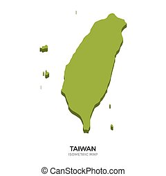 Isometric map of Taiwan detailed vector illustration...