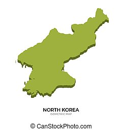 Isometric map of North Korea detailed vector illustration....