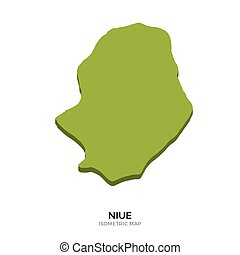 Isometric map of Niue detailed vector illustration. Isolated...
