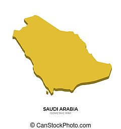 Isometric map of Saudi Arabia detailed vector illustration....