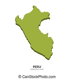 Isometric map of Peru detailed vector illustration. Isolated...