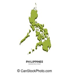 Isometric map of Philippines detailed vector illustration....