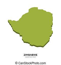 Isometric map of Zimbabwe detailed vector illustration....