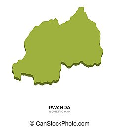 Isometric map of Rwanda detailed vector illustration...