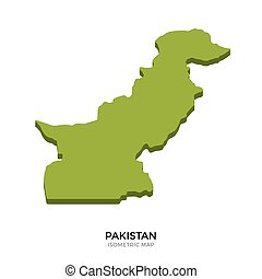 Isometric map of Pakistan detailed vector illustration....