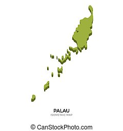 Isometric map of Palau detailed vector illustration....