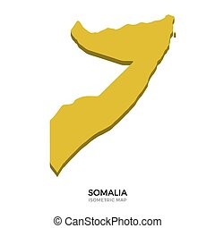 Isometric map of Somalia detailed vector illustration...