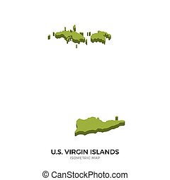 Isometric map of US Virgin Islands detailed vector...