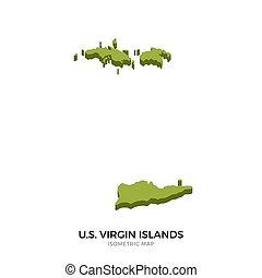 Isometric map of U.S. Virgin Islands detailed vector...