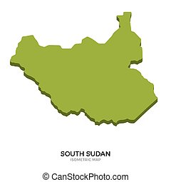 Isometric map of South Sudan detailed vector illustration....