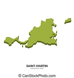 Isometric map of Saint-Martin detailed vector illustration...