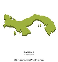 Isometric map of Panama detailed vector illustration....