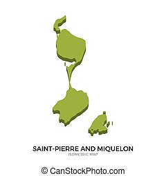Isometric map of Saint-Pierre and Miquelon detailed vector...