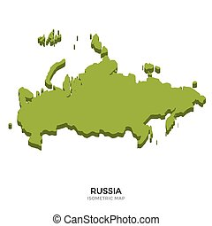 Isometric map of Russia detailed vector illustration....