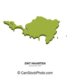 Isometric map of Sint Maarten detailed vector illustration