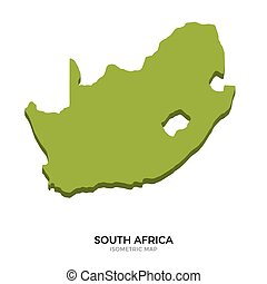 Isometric map of South Africa detailed vector illustration....