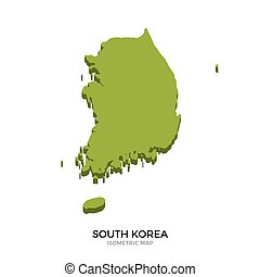 Isometric map of South Korea detailed vector illustration...