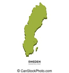 Isometric map of Sweden detailed vector illustration...