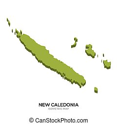 Isometric map of New Caledonia detailed vector illustration....