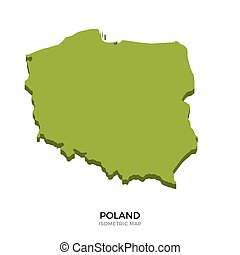 Isometric map of Poland detailed vector illustration....