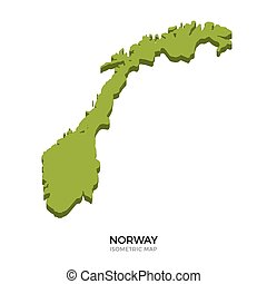 Isometric map of Norway detailed vector illustration...