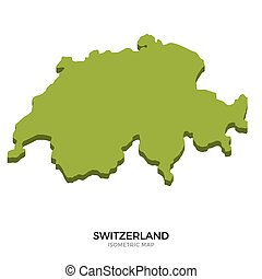 Isometric map of Switzerland detailed vector illustration...
