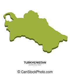 Isometric map of Turkmenistan detailed vector illustration....