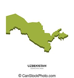 Isometric map of Uzbekistan detailed vector illustration....