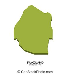 Isometric map of Swaziland detailed vector illustration....