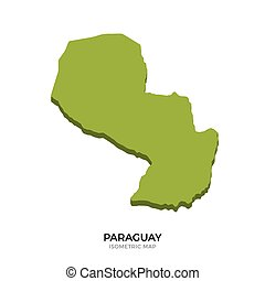 Isometric map of Paraguay detailed vector illustration....