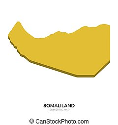 Isometric map of Somaliland detailed vector illustration....