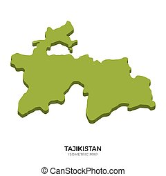 Isometric map of Tajikistan detailed vector illustration....