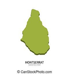 Isometric map of Montserrat detailed vector illustration....