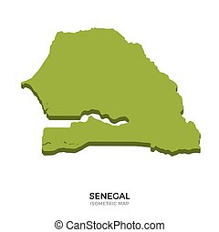 Isometric map of Senegal detailed vector illustration....