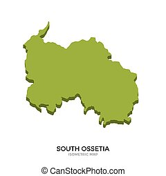Isometric map of South Ossetia detailed vector illustration....